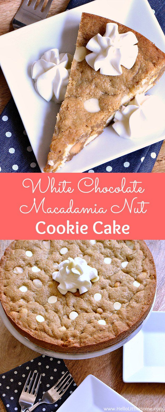 White Chocolate Macadamia Nut Cookie Cake ... the perfect treat for birthday parties or any special occasion! Learn how to make this easy homemade cookie cake recipe that's packed with sweet white chocolate chips and crunchy macadamia nuts. This decadent, oversized cookie pie is sure to become a favorite in your kitchen ... perfect for kids and adults alike! | Hello Little Home