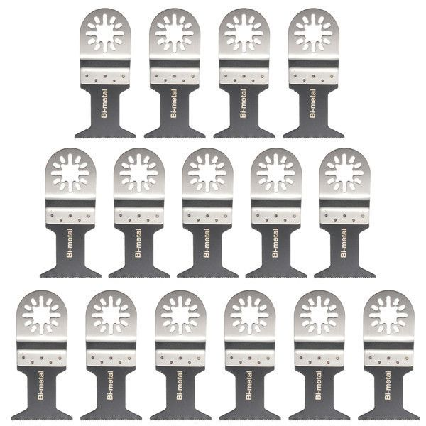 15pcs 45mm Bi-metal Saw Blades Oscillating Multi Tool Power Tool Accessories. Description: 15pcs 45mm Bi-metal Saw Blades Oscillating Multi Tool Power Tool Accessories  Specification:  Material: bimetal (carbon steel and stainless steel)  Type: Bi-metal blade straight  Bi-metal saw blades width: 45mm (1-3 / 4 ')   Features:  Bi-metal suitable for chopping board, fibreboard and plywood nail eater Great for plasterboard, concrete panels, glass fiber,  plastic,  soft metals.Open interface…