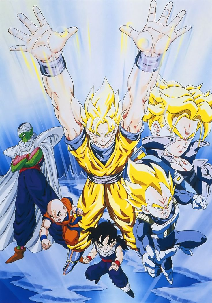 Vegeta, Goku, Trunks, Krillin, Piccolo, and Gohan