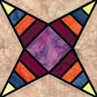 Stained Glass Radiating Amethyst Quilt Block Pattern