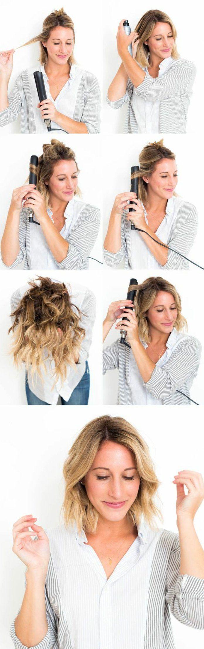 boucler ses cheveux avec un lisseur, chemise blanche, cheveux blonds courts