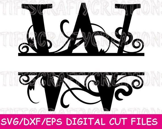 Split Letter Svg Monogram Svg Alphabet Font Svg Files For Etsy Monogram Svg Swirl Design Plasma Cutter Art