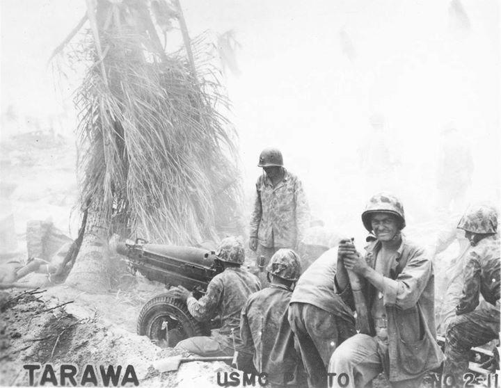 US Marine 75mm howitzer team Tarawa Gilbert Islands November 1943.