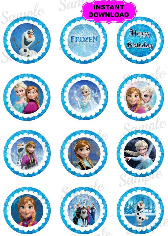 Frozen 2 Round Cupcake Topper Princess By Kidspartypixel