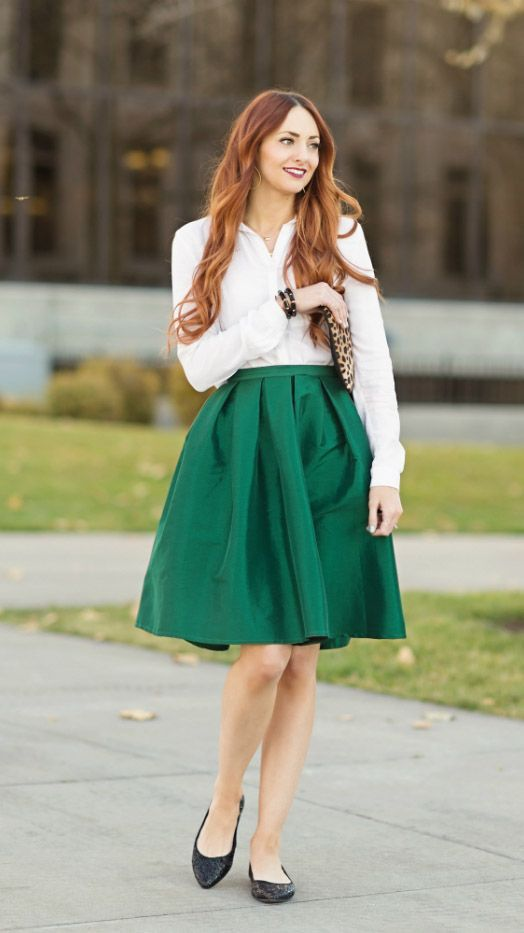 Metallic Green Knee Length Skirt   Mode-sty #nolayering   visit us http://stitchme.gifts