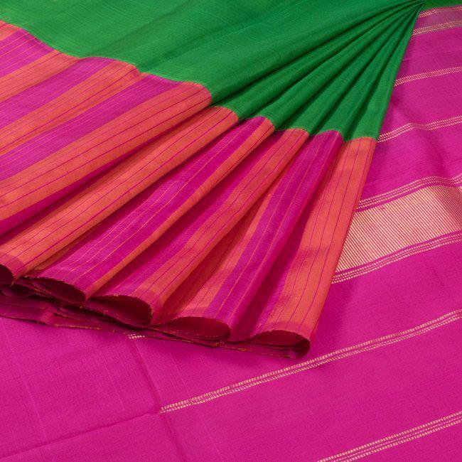 Sri Sagunthalai Silks Handwoven Korvai Kanchipuram Silk Saree With Striped Multicolour Border 10007153 - profile - AVISHYA.COM