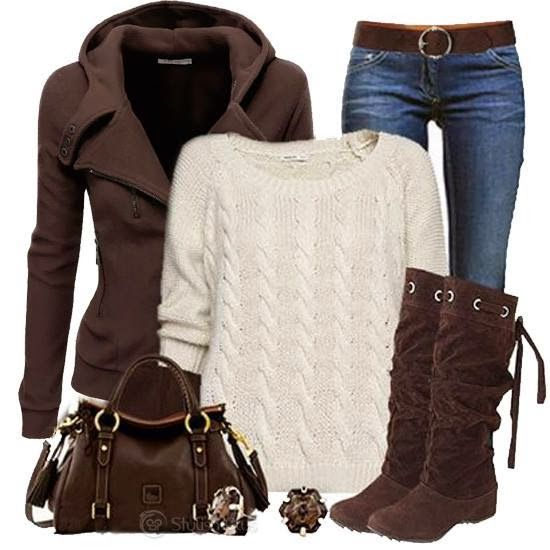 Minus Brown sweater thingy Purse  Plus New Aero sweater Black boots