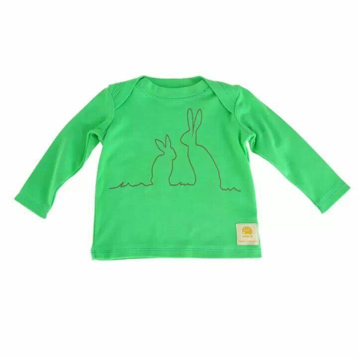 Hare print baby tee in leaf green.AW14.www.imminkkids.com