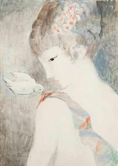 Girl with a bird, by Marie Laurencin (French, 1883 - 1956)