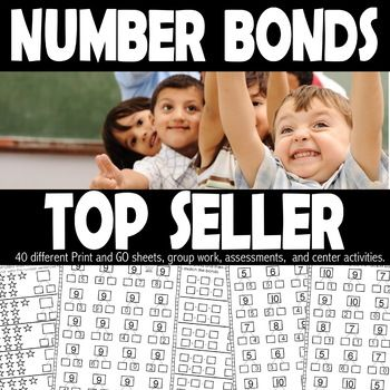 """Our number bond work mats, group work, center work, and assessments have tremendously helped my students with missing addends. This follows CCSS and gives many different ways for students to """"show what they know"""" using number bond activities. In the center"""