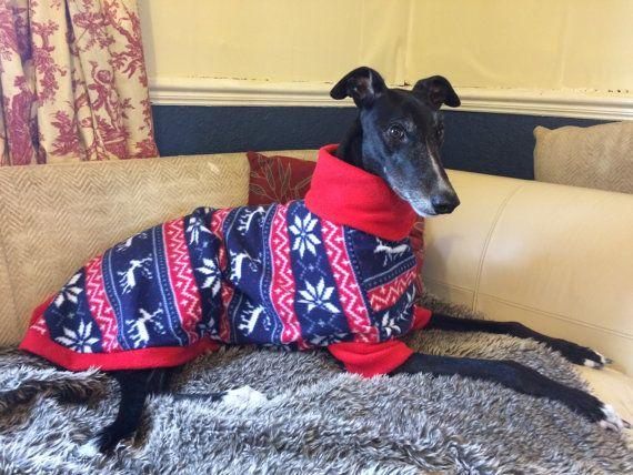 Christmas greyhound pyjamas with choice of trim