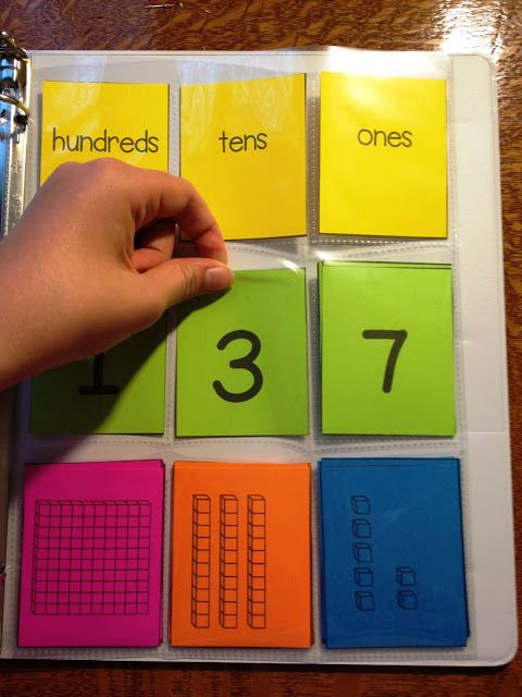I wonder if I could use both side of an open binder to show a larger number to have students review place value....hmmm. Perhaps draw a card with a written number in which the student must then show it in multiple ways using the pockets, numerical cards, unit block cards, and so forth....just a thought.