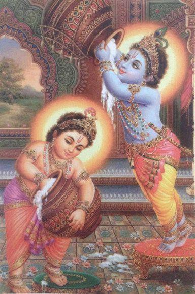 "Indisk postkort ""Baby Krishna og Balram eating butter"" fra Herigate Books. Fotograf: Susanne Randers"