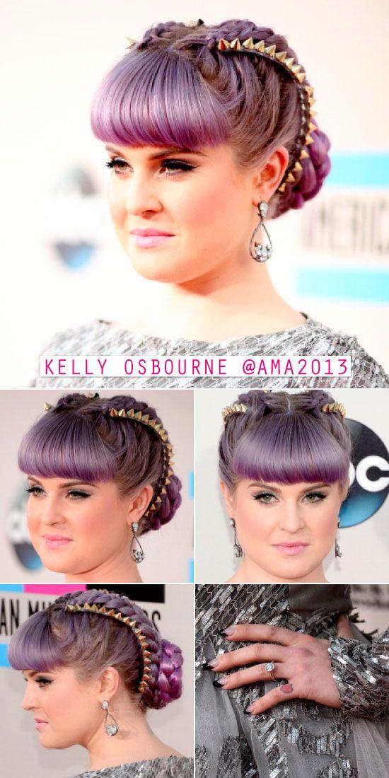 ideia de penteado de kelly osbourne: trança com coque e acessório com spikes.