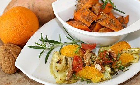 Veganes Rezept Fenchel mit Süsskartoffeln. Ein leckeres leichtes Gericht mit mediterranem Aroma aus vitalstoffreichem Fenchel kombiniert mit sättigenden Süsskartoffeln.
