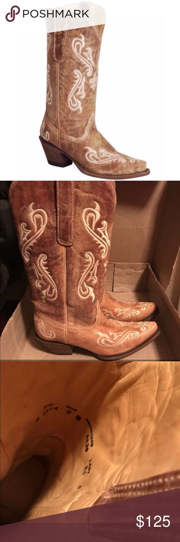 Corral boots Worn once. Were a little big for me so they have been in their box corral Shoes Heeled Boots