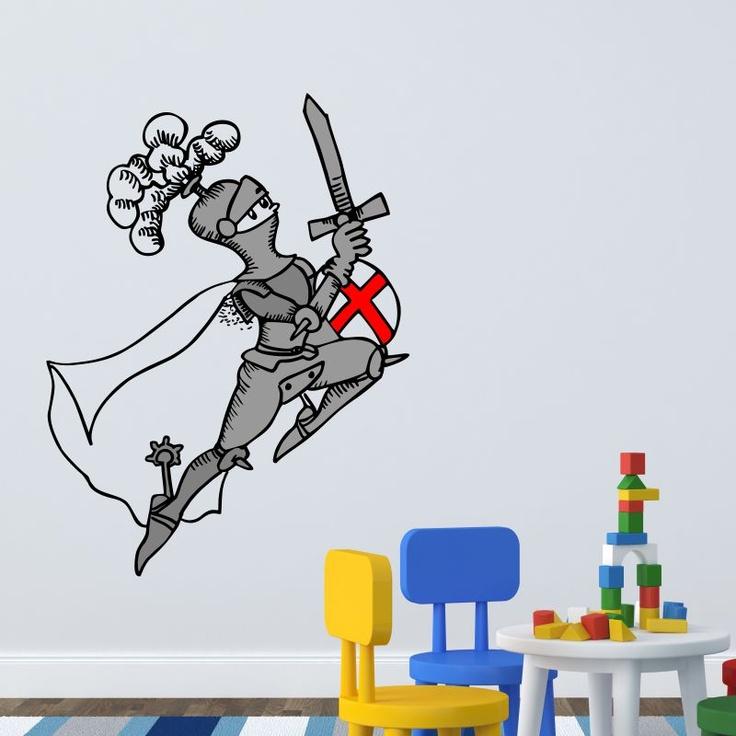 Sant Jordi/San Jorge, un valiente caballero para proteger la habitación de los más pequeños. Cuentos fantásticos de caballeros, princesas y dragones. Ilustración de Pilarín Bayés para los vinilos de autor de Stickway.