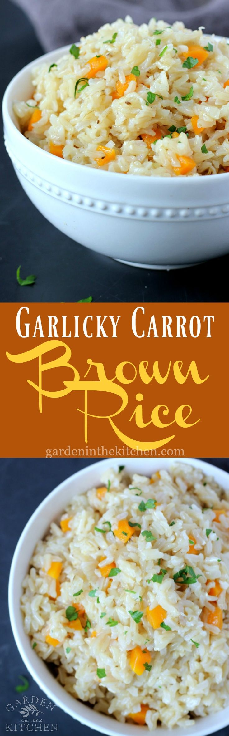 Garlicky Carrot Brown Rice - Brown Rice sautéed with pressed garlic, onion in oil to lock in the flavors. Simply an irresistible side dish to complete all your meals