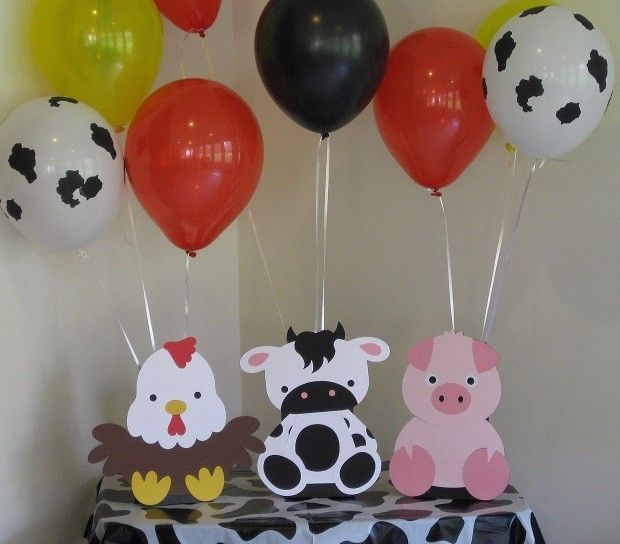 3 Farm Animal Balloon Holder Birthday Party, Baby Shower Table Centerpieces Cow #BirthdayChild