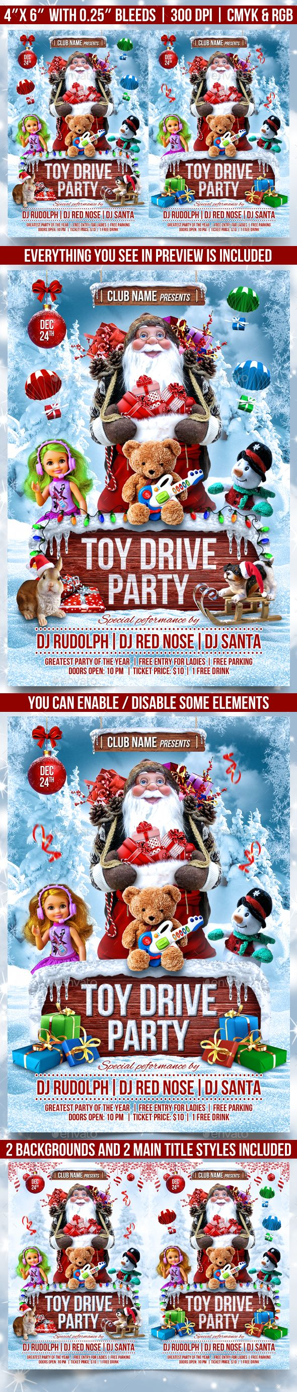 Toy Drive Party Flyer Template - Events Flyers candy cane, charity, charity template, christmas, christmas bash, christmas card, Christmas Celebration, christmas event, christmas party, Christmas poster, christmas tree, flyer template, fun, holiday, kids, kids party, new year, santa, santa klaus, snow, snow flakes, snowman, toy 4 tots, toy drive, toy for tots, winter, winter party, xmas party