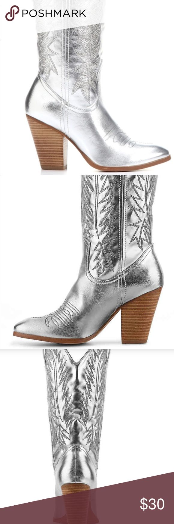 Silver Cowboy Boots by Mirada Lambert  Size 9 These are silver cowboy boots by Miranda by Miranda Lambert. Boots and bling will add glam to any outfit. Size 9 New, no Box. 3 ½ inch heel Miranda by Miranda Lambert Shoes Heeled Boots