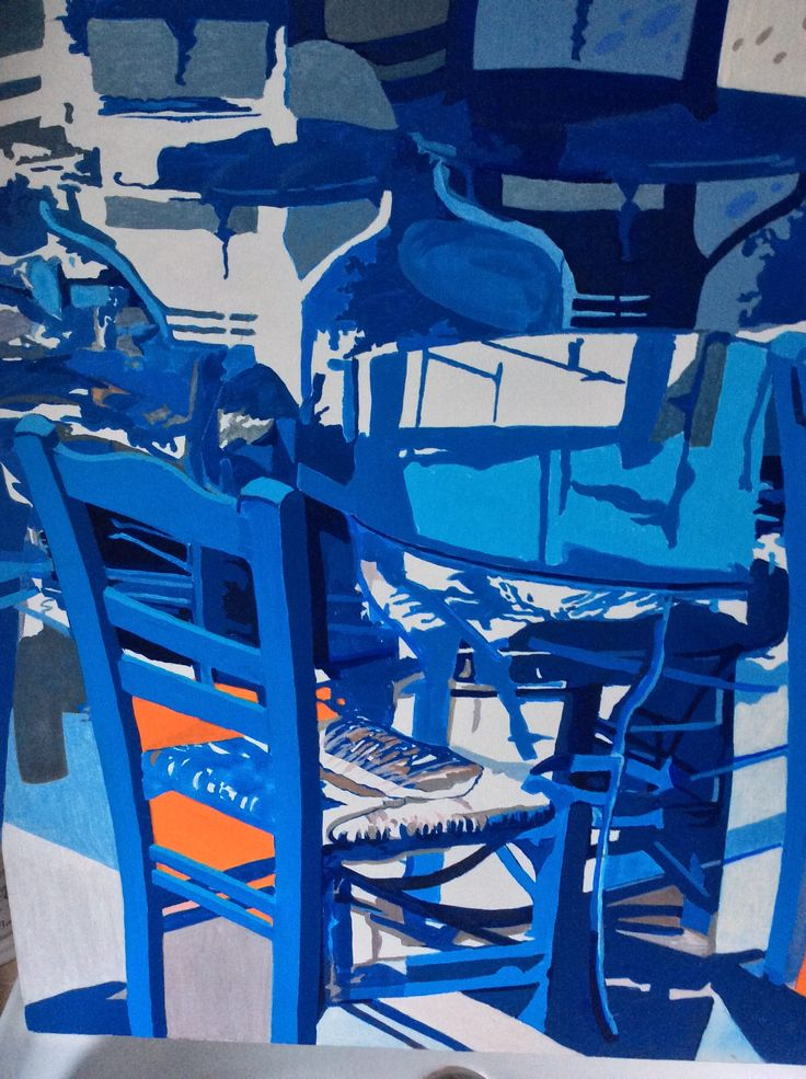 Blue chairs ,Crete Acrylic on canvas