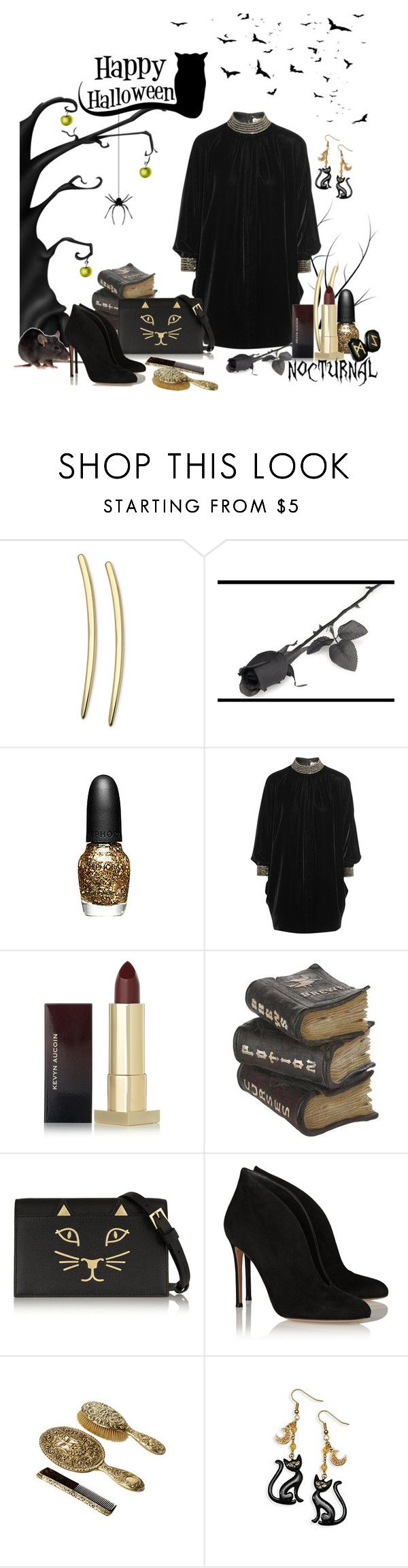 """""""Saint Laurant Beaded Velvet Mini"""" by beautyscoop ❤ liked on Polyvore featuring GUESS, INC International Concepts, Sephora Collection, Yves Saint Laurent, Kevyn Aucoin, Charlotte Olympia, Gianvito Rossi and Halloween2015"""