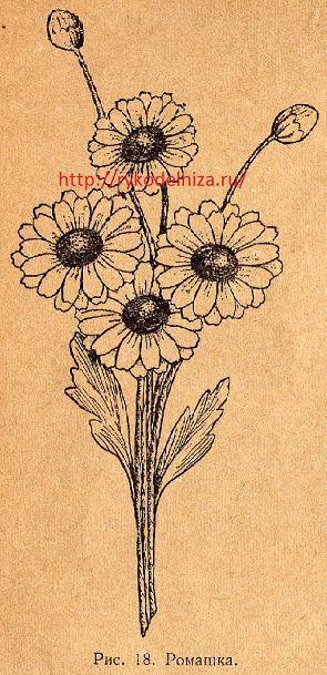изготовление цветов из ткани, схема ромашки