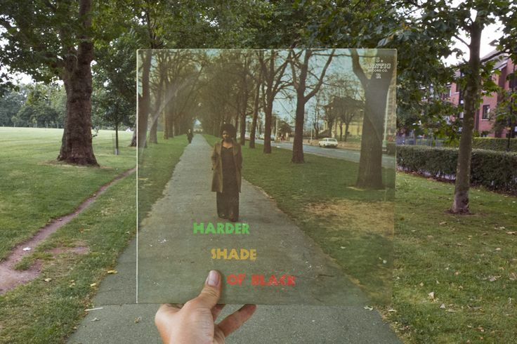 Various Artists, Harder Shade of Black (Santic, 1974), rephotographed in Hackney Downs, London E5, 42 years later. Photos © 2016 Alex Bartsch, courtesy One Love Books