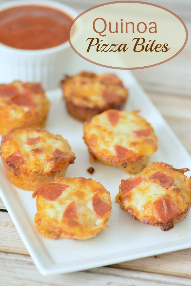 Quinoa Pizza Bites Recipe. A fun way to sneak a healthy superfood into your diet. This makes a great healthy appetizer for parties, super bowl or backyard BBQs.