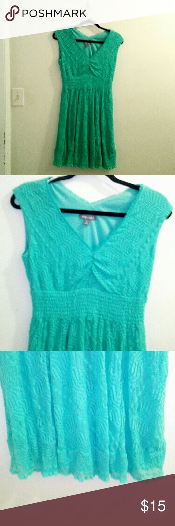 Mint green Roz & Ali lace overlay dress Petite 8 Great dress for summer! Mint green, lace overlay, sleeveless with a v neckline, it gathers under the bust. Gently worn. Size petite 8, from Roz & Ali. Smoke free home, do have pets. roz & ali Dresses Mini