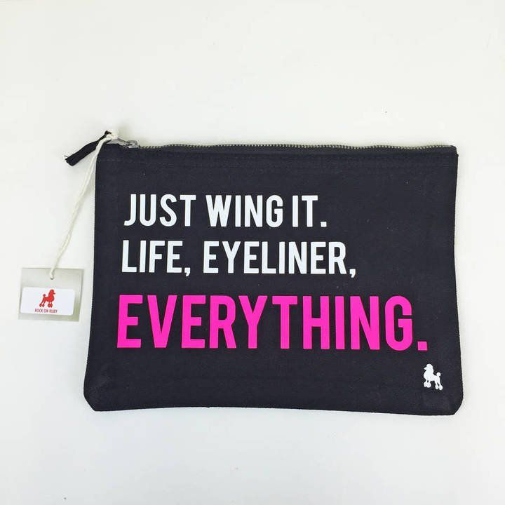 """Pin for Later: 40 Travel Gifts For Your Favourite Globetrotter  Rock on Ruby """"Just Wing It"""" Eyeliner Make Up Bag (£10)"""