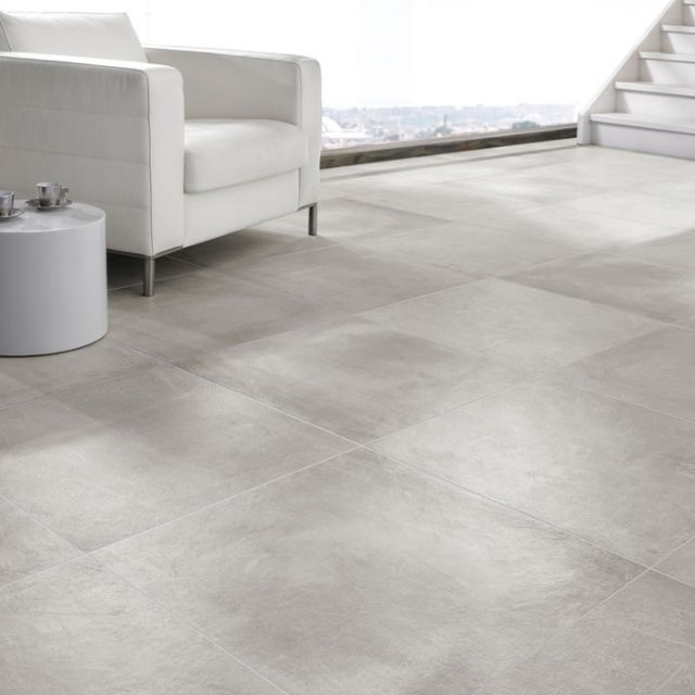 Mooie vloertegel betonlook voor in de hal, badkamer of buiten