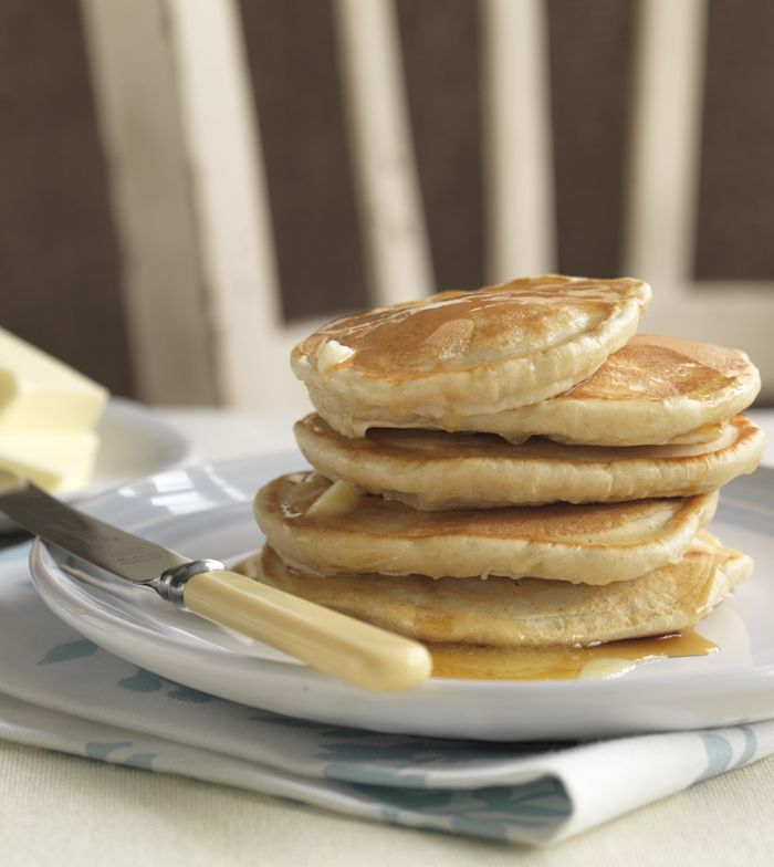 Easy, fluffy American pancakes with butter and maple syrup. Mmmmm...