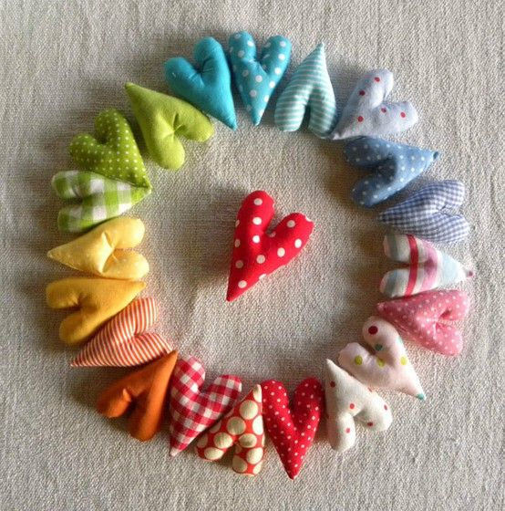 A Bunch of Rainbow Love By krakracraft @Etsy: Price: $15.00. A little something for someone when in need of squishy and colorful lovelies. In this listing you are offered 10 small softie hearts in various colors  patterns, all sewn out of cotton, repurposed  vintage fabrics, filled w/ love , of course, some polyfill! If you wish, hearts can be attached on a cotton string to dangle around or be assembled into mobile or alike but please let me know additionally about this option...