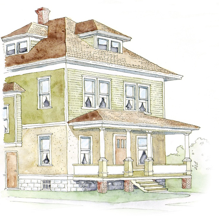 38 best ideas about exterior foursquare on pinterest for Traditional american architecture