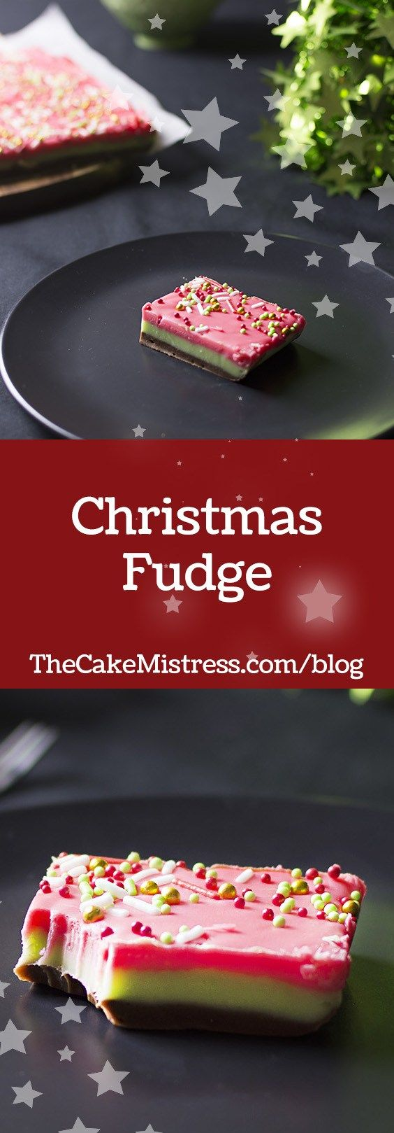 This triple layer Christmas Fudge is flavoured with dark chocolate and peppermint and topped with festive sprinkles. So easy! #christmas #baking #fudge