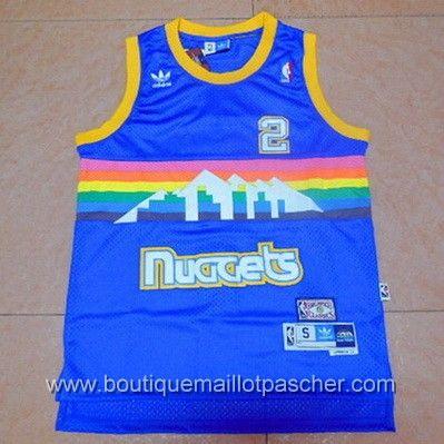 maillot nba pas cher Denver Nuggets English #2 Bleu retro mesh tissu 22,99€