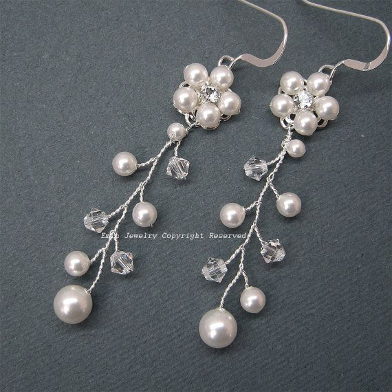 Bridal Jewelry, Pearl Wedding Earrings, Off White Swarovski Pearls Rhinestone Floral Sterling Silver Vine Earrings, Bridesmaid Earrings. ETSY-Eminjewelry