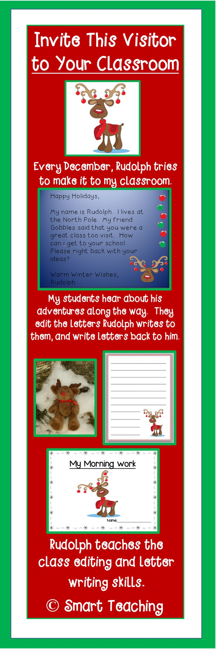 Can Rudolph visit your classroom? He is a writing challenged reindeer who is trying to make his way to you before Christmas. He teaches editing and letter writing skills to your students with daily letters to the children. Your students edit his messages, and write letters back to him. This is the perfect morning work! $