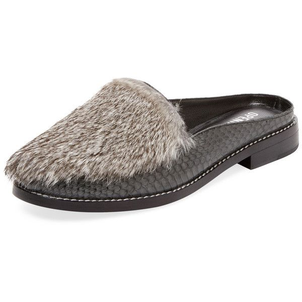 Opening Ceremony Women's Nebulla Fur & Snakeskin Slip-On Loafer - Dark... ($299) ❤ liked on Polyvore featuring shoes, loafers, dark grey, opening ceremony shoes, slip on loafers, dark grey shoes, opening ceremony loafers and fur loafers