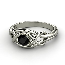 Infinity Knot Ring, Round Black Onyx Sterling Silver Ring from Gemvara