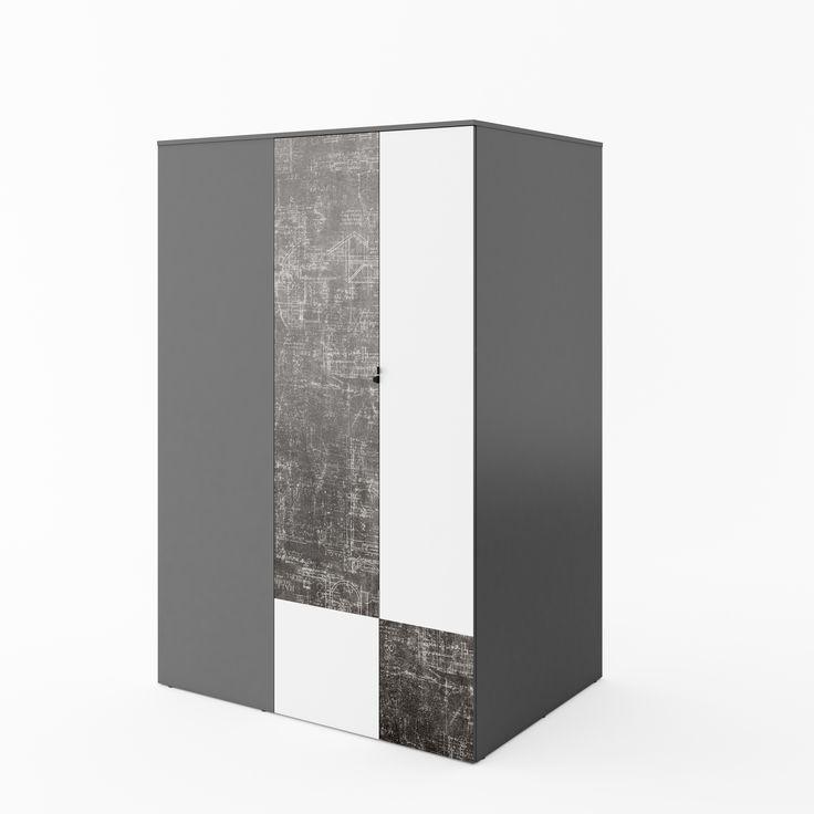 szafa-garderoba / walk-in closet #deco #geometry #geometria #beton #garderoba #walkincloset #imitacjabetonu #kidsroom #meble #furniture #pokojdzieci #grey #concrete #kidsinterior #new #nowosc #interiordesign #youth #mlodziezowe #meblemlodziezowe #wnetrzadladzieci #mebledzieciece #dignet #dignetlenart #lenartdesign