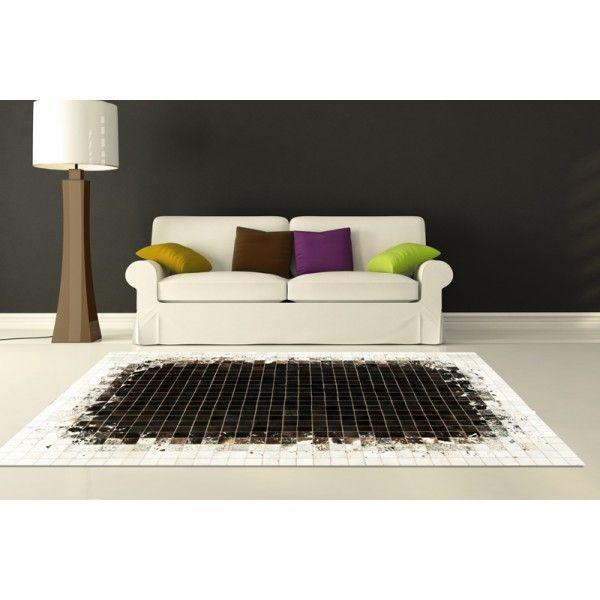 patchwork cowhide rug k-1811 mosaik black-brown-white