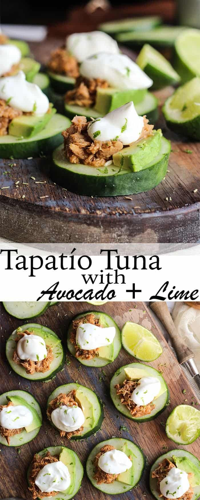 StarKist Tuna Creations BOLD Tapatío on cucumber slices with avocado and lime cream. Enjoy a fresh appetizer full of flavor!