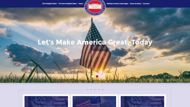 President-elect Donald Trump has a brand-new website with a .gov address. It features images of grassland and wide-open skies — and, if you read between th