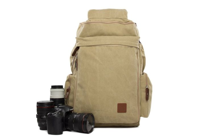 Light Gray Canvas DSLR Camera Backpack, Large Volume Track Camera Pouch DN26S