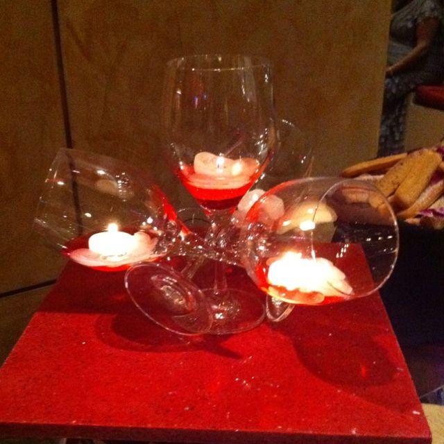 Wine glass illusion centerpiece wedding board