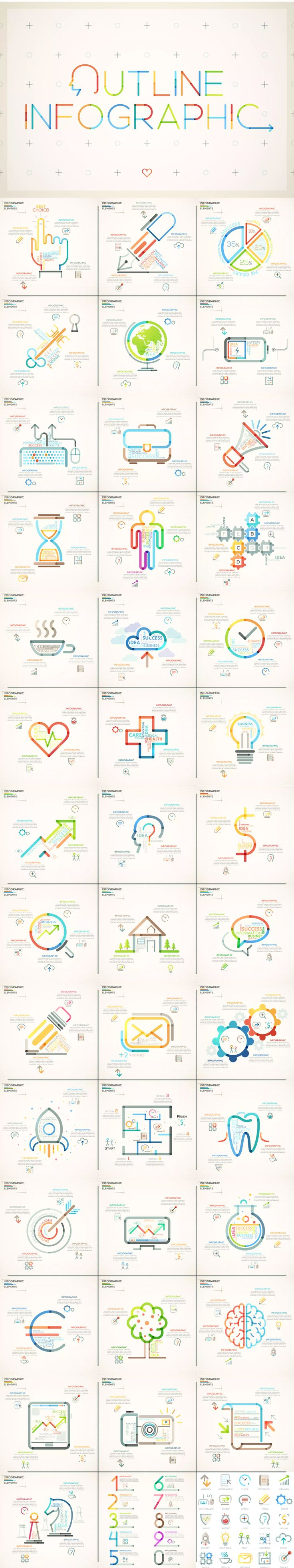 Outline Infographic Template AI, EPS, JPG, PSD
