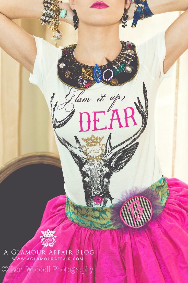 Glam it up Deer Tee, Glamorous High Fashion T shirt, Deer Shirt, Teen Gift, Women's T shirt, unique gift